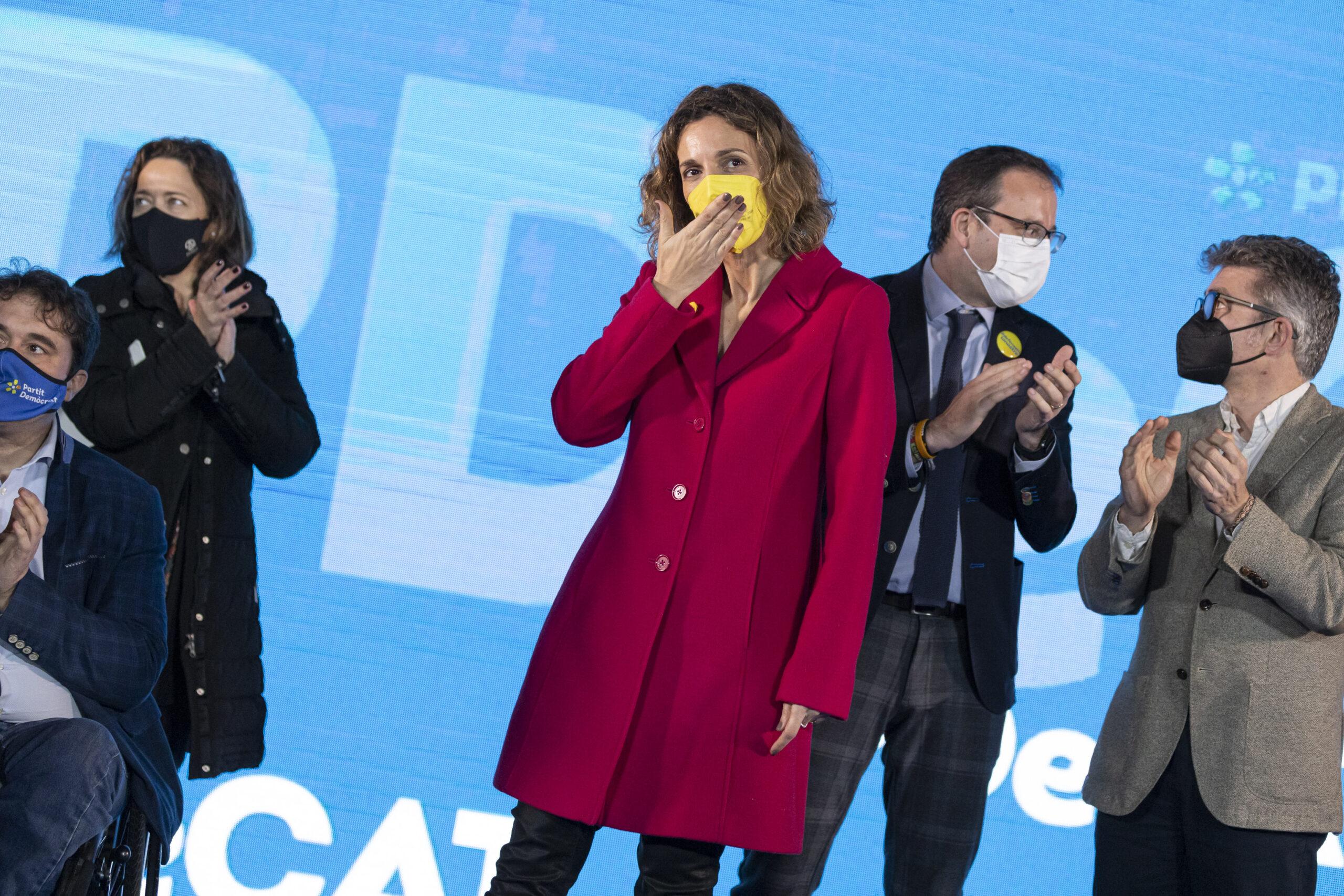 Chacón, en l'acte de final de campanya del partit al Recinte Modernista de Sant Pau / ACN
