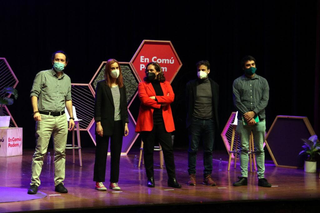 La candidata d'En Comú Podem, Jéssica Albiach, participa en un acte titulat 'El canvi que Catalunya mereix' acompanyada de Pablo Iglesias, Ada Colau i Jaume Asens al Casino L'Aliança del Poblenou de Barcelona, el 12 de febrer del 2021 / ACN