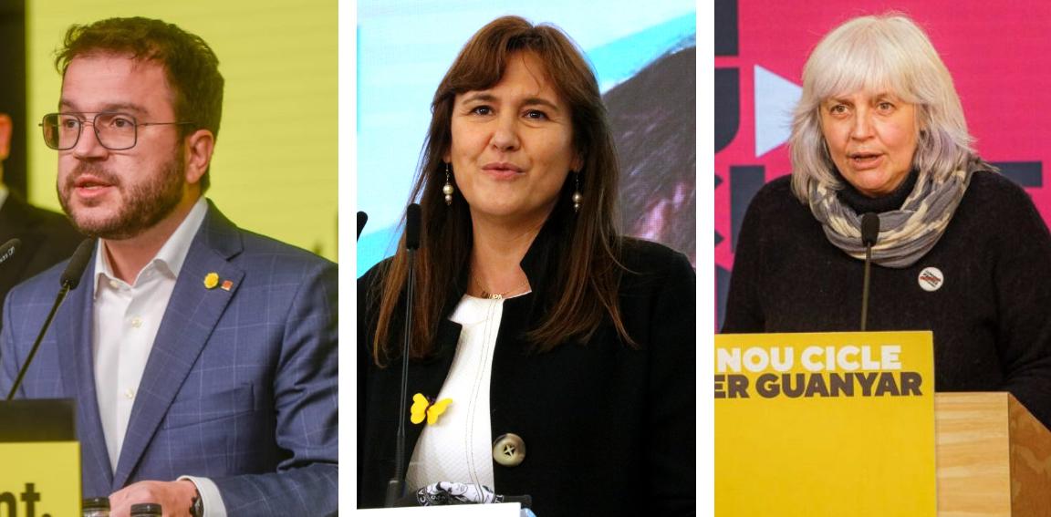 Pere Aragonès, Laura Borràs i Dolors Sabater, la nit electoral del 14F