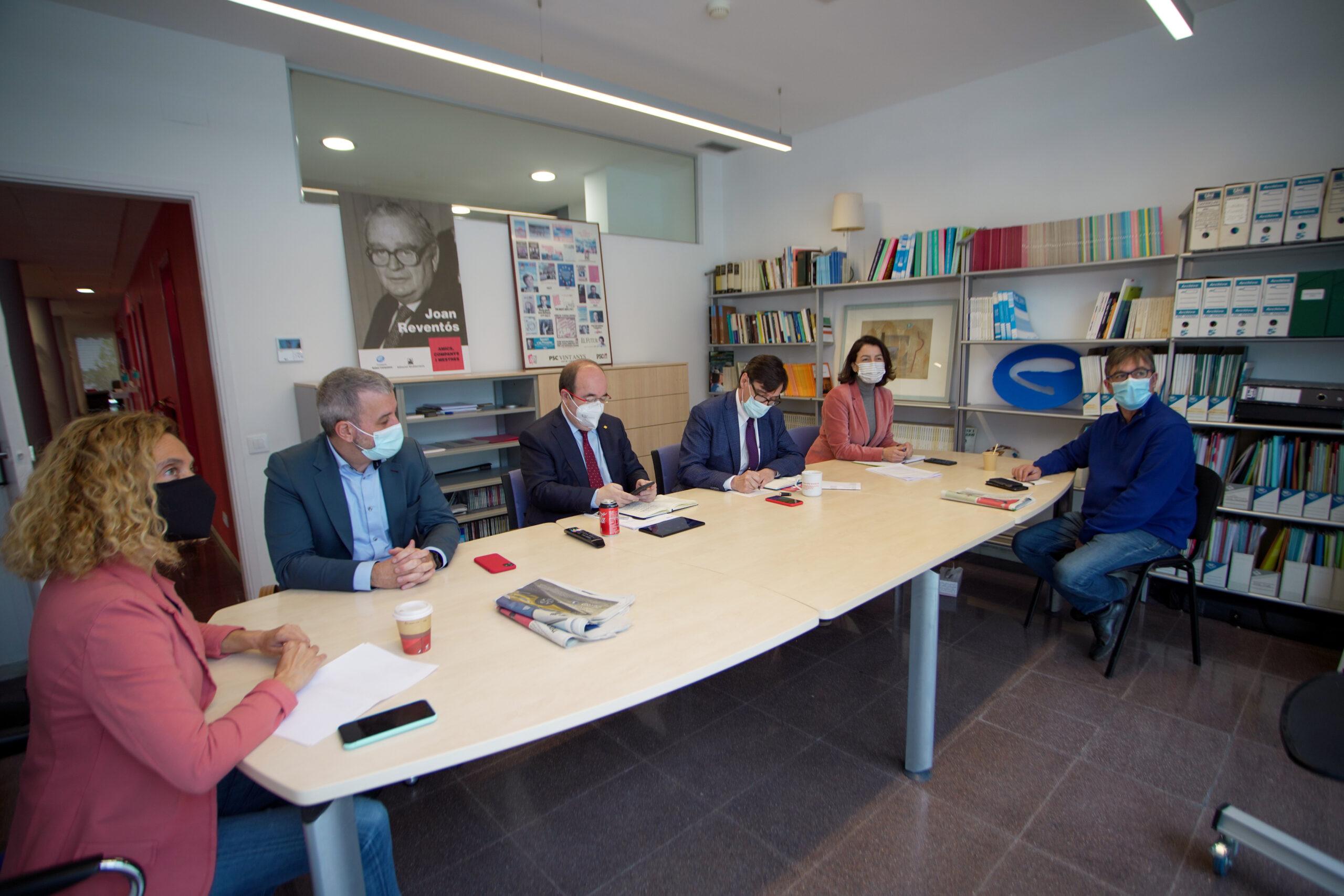 La primera reunió de la comissió executiva del PSC després del 14-F, en format híbrid, amb Salvador Illa, Miquel Iceta, Eva Granados, Meritxell Batet i Jaume Collboni   ACN