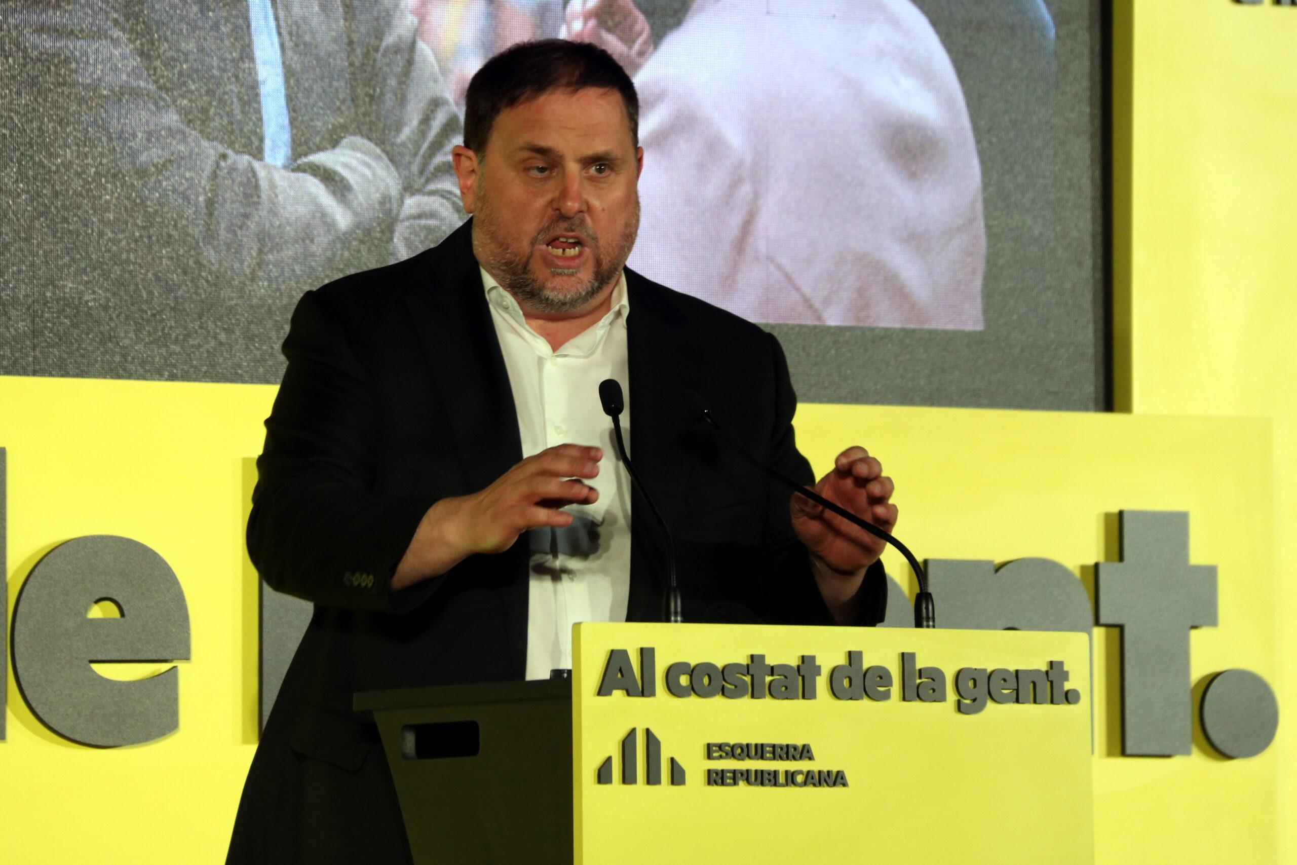 El president d'ERC, Oriol Junqueras, a l'acte de tancament del partit, a les Cotxeres de Sants de Barcelona | ACN