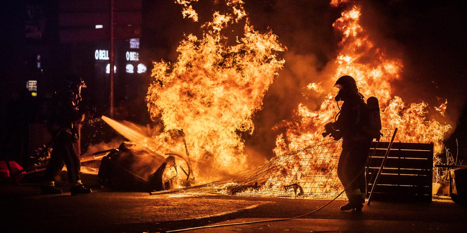 Aldarulls a Barcelona després de la manifestació en suport a Pablo Hasél / Jordi Borràs