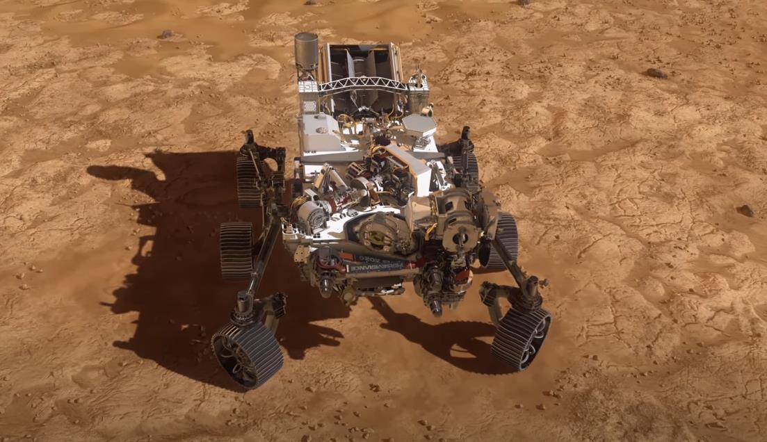 Ilustración artística del rover Perseverance nada más llegar a Marte NASA 18/2/2021