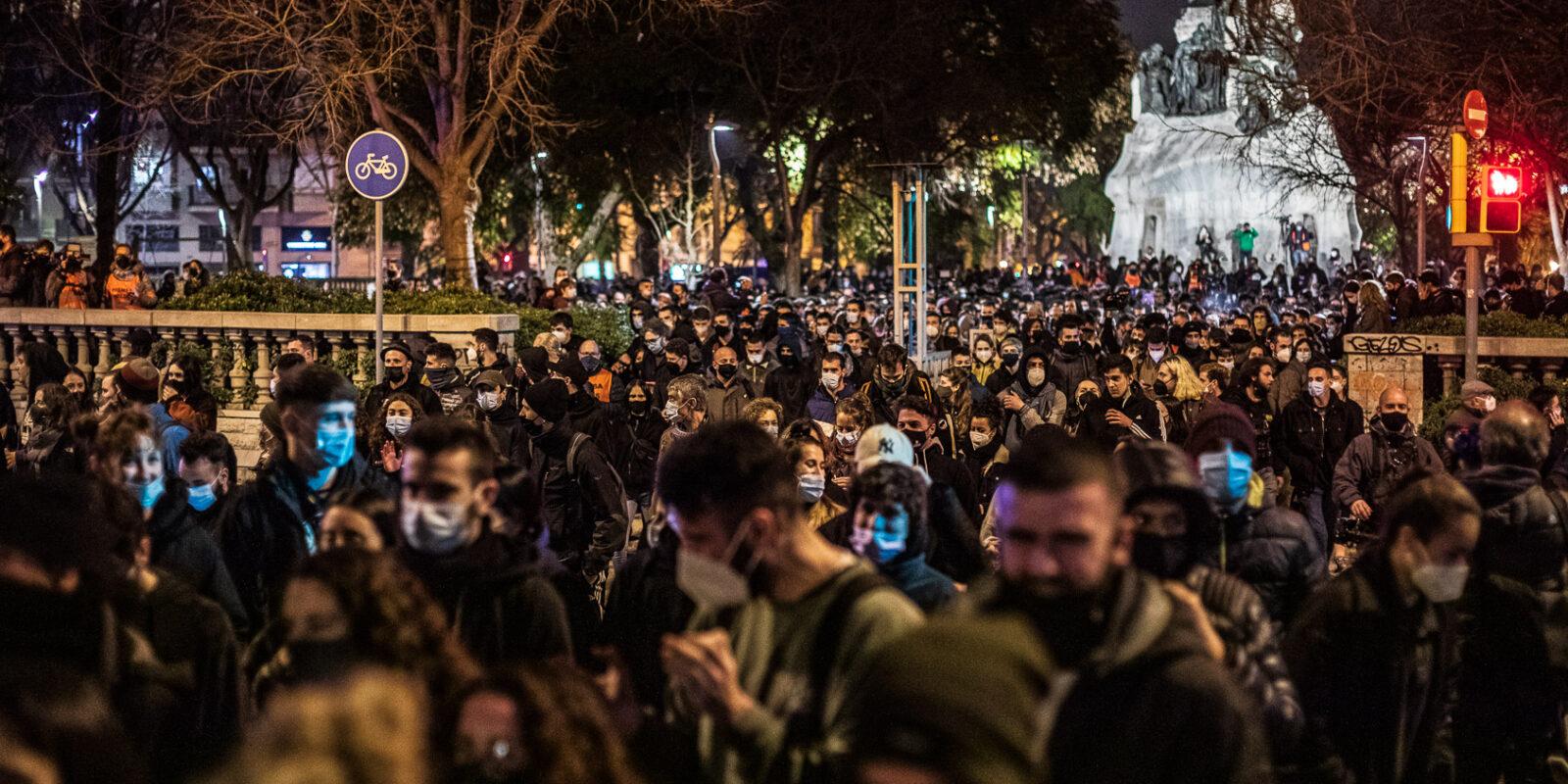 Imatge d'arxiu d'una manifestació a Barcelona contra l'empresonament de Hasél | Jordi Borràs