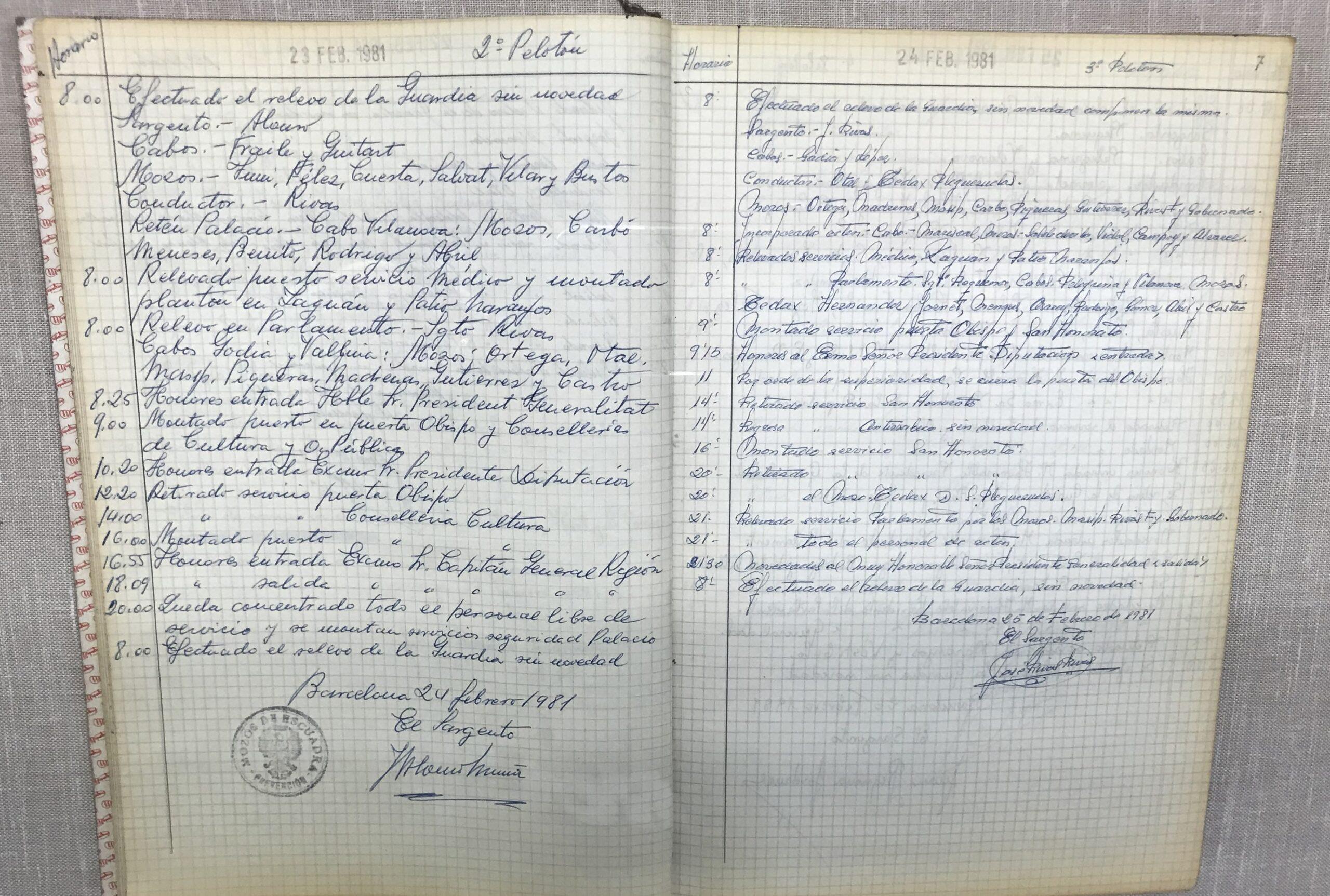 L'atestat dels Mossos del 23F a Palau/Museu d'Història dels Mossos