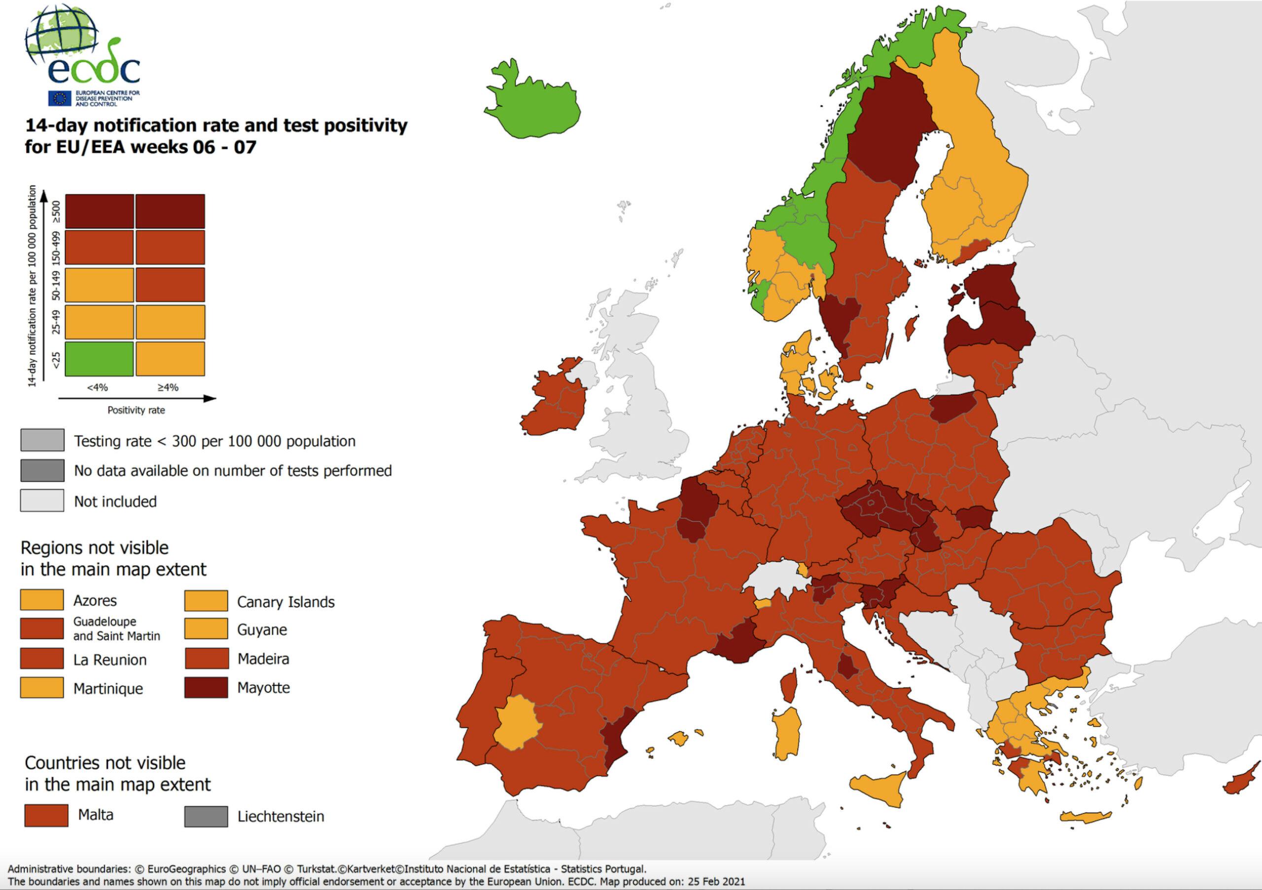 Mapa de la incidència de contagis a Europa de l'ECDC del 25 de febrer del 2021. (Horitzontal)