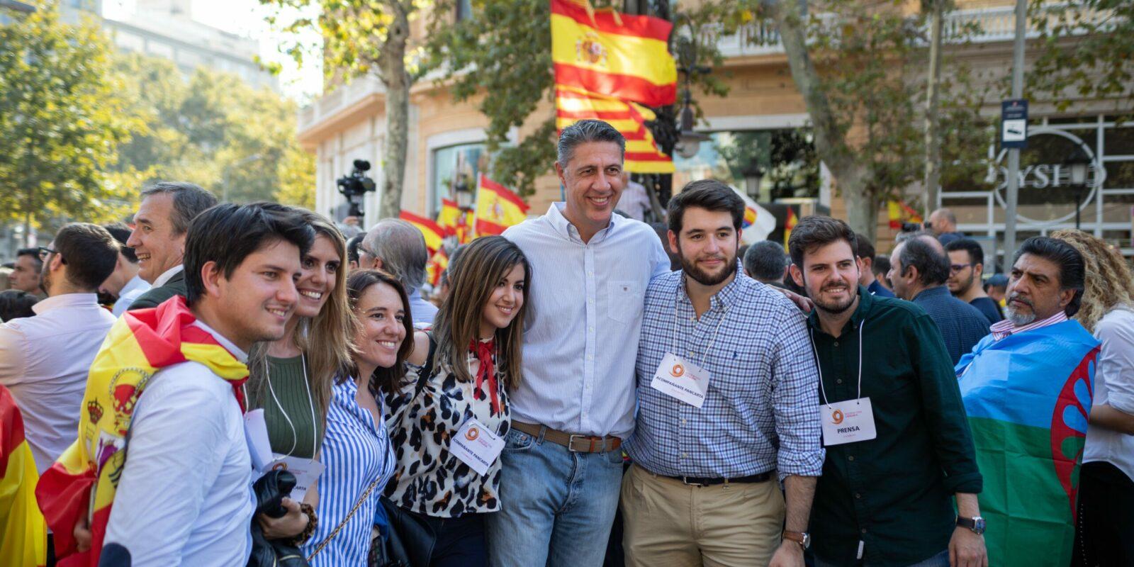 Xavier Garcia Albiol, durant una manifestació de Societat Civil Catalana | Europa Press