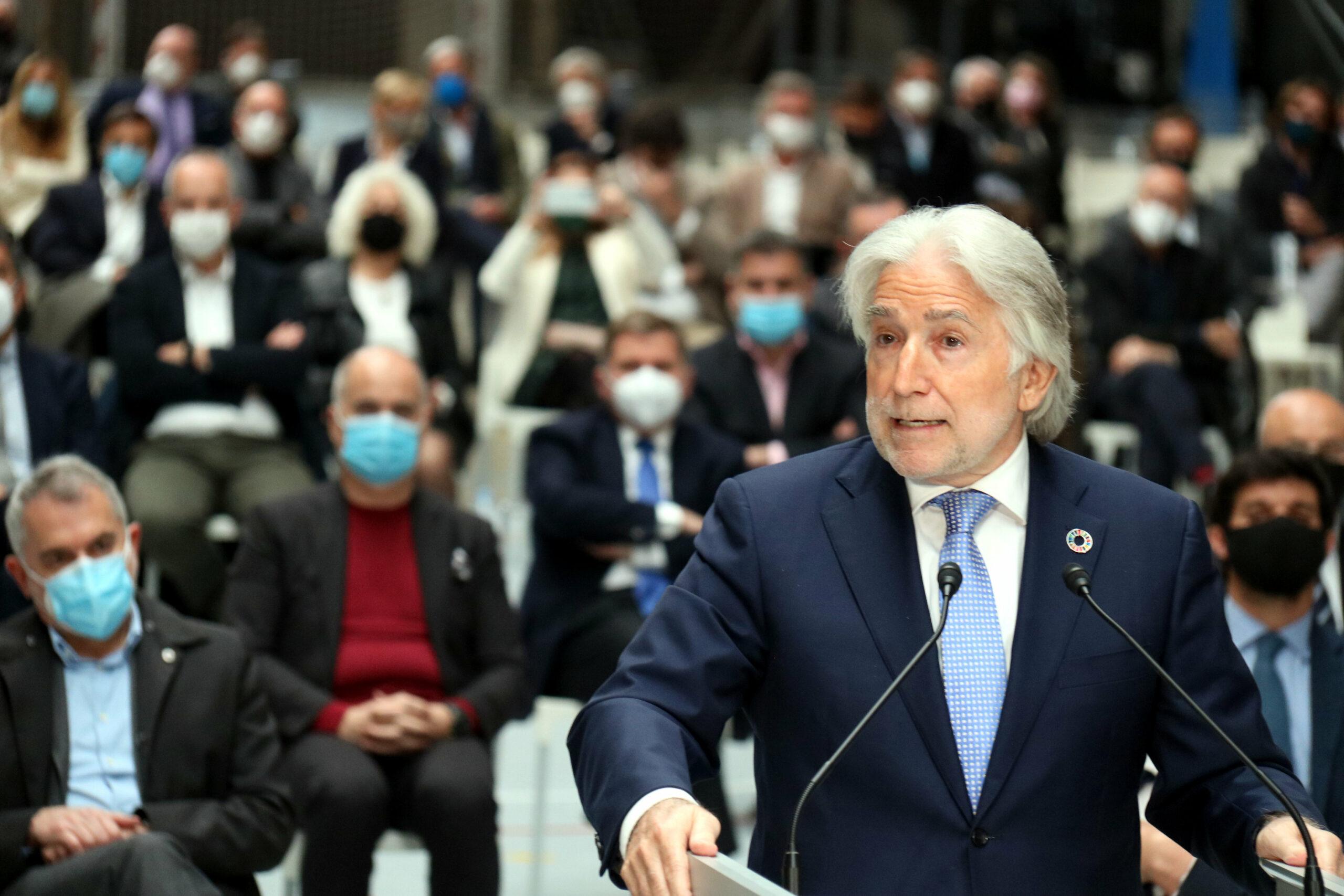 El president de Foment del Treball, Josep Sánchez Llibre, en l'acte convocat per les patronals a l'Estació del Nord (ACN)