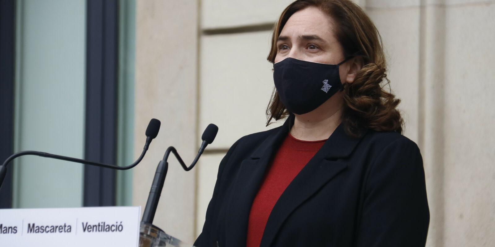 L'alcaldessa de Barcelona, Ada Colau, en una compareixença des del Departament d'Interior (ACN)