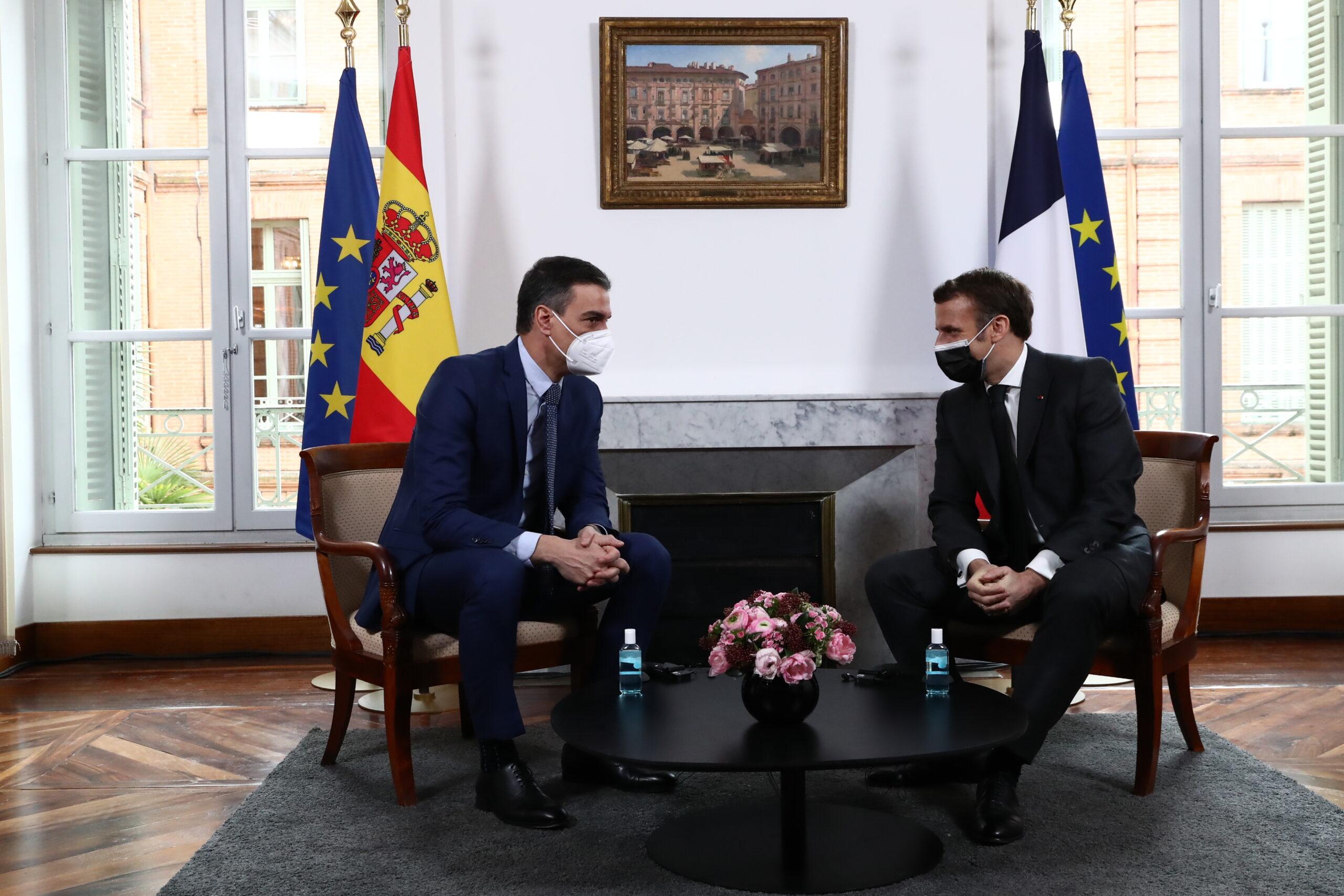 El president del govern espanyol, Pedro Sánchez amb el president de la República Francesa, Emmanuel Macron