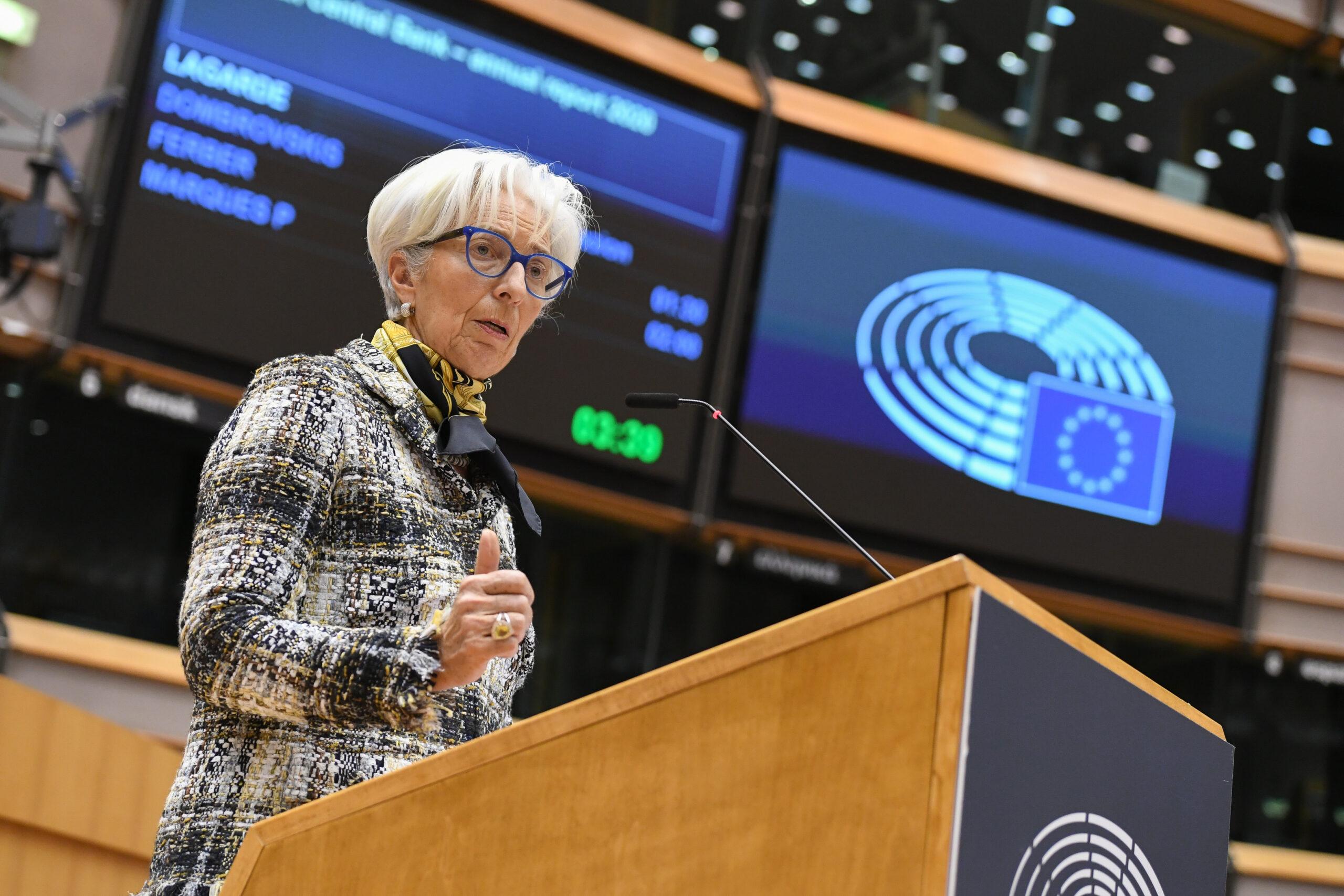 La presidenta del BCE, Christine Lagarde, en una intervenció al ple de l'Eurocambra | ACN
