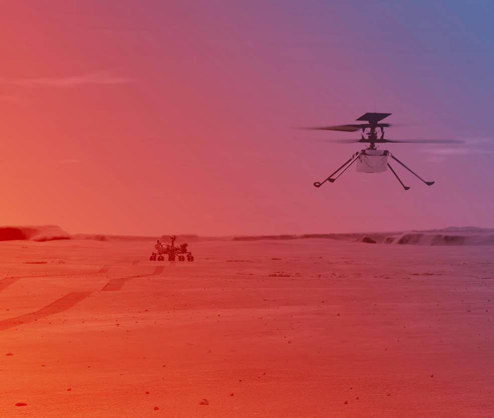 Il·lustració de l'Ingenuity volant a la superfície de Mart | NASA/JPL-CALTECH