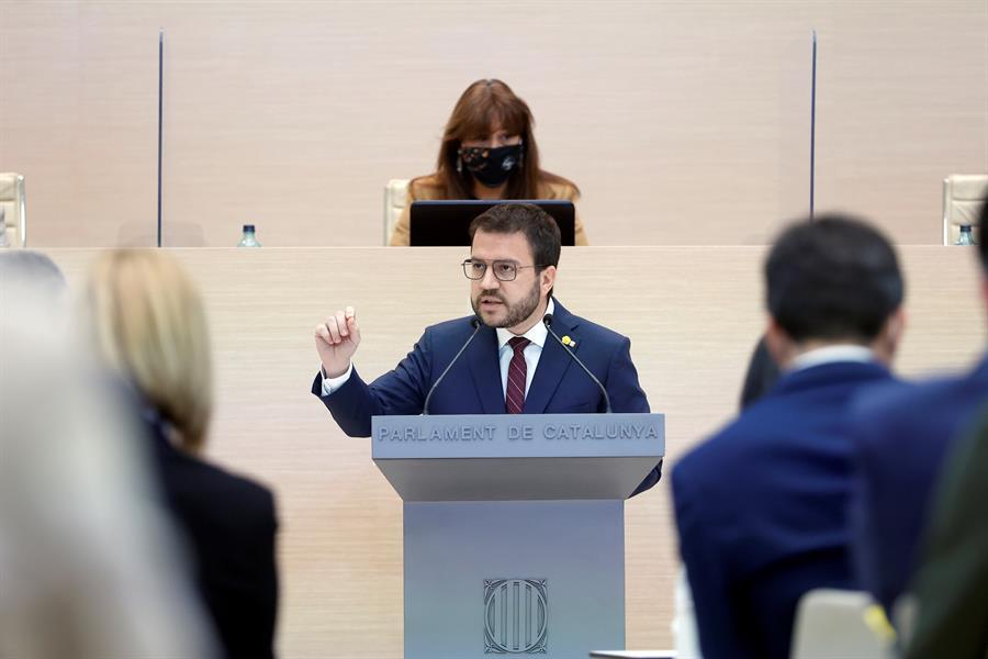 El candidat d'ERC, Pere Aragonès, durant el debat d'investidura