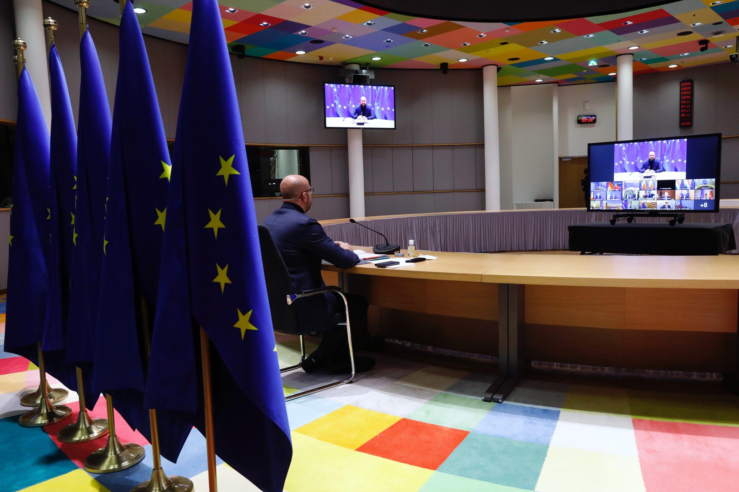 El president del Consell d'Europa, Charles Michel, durant una videoconferència (ACN)