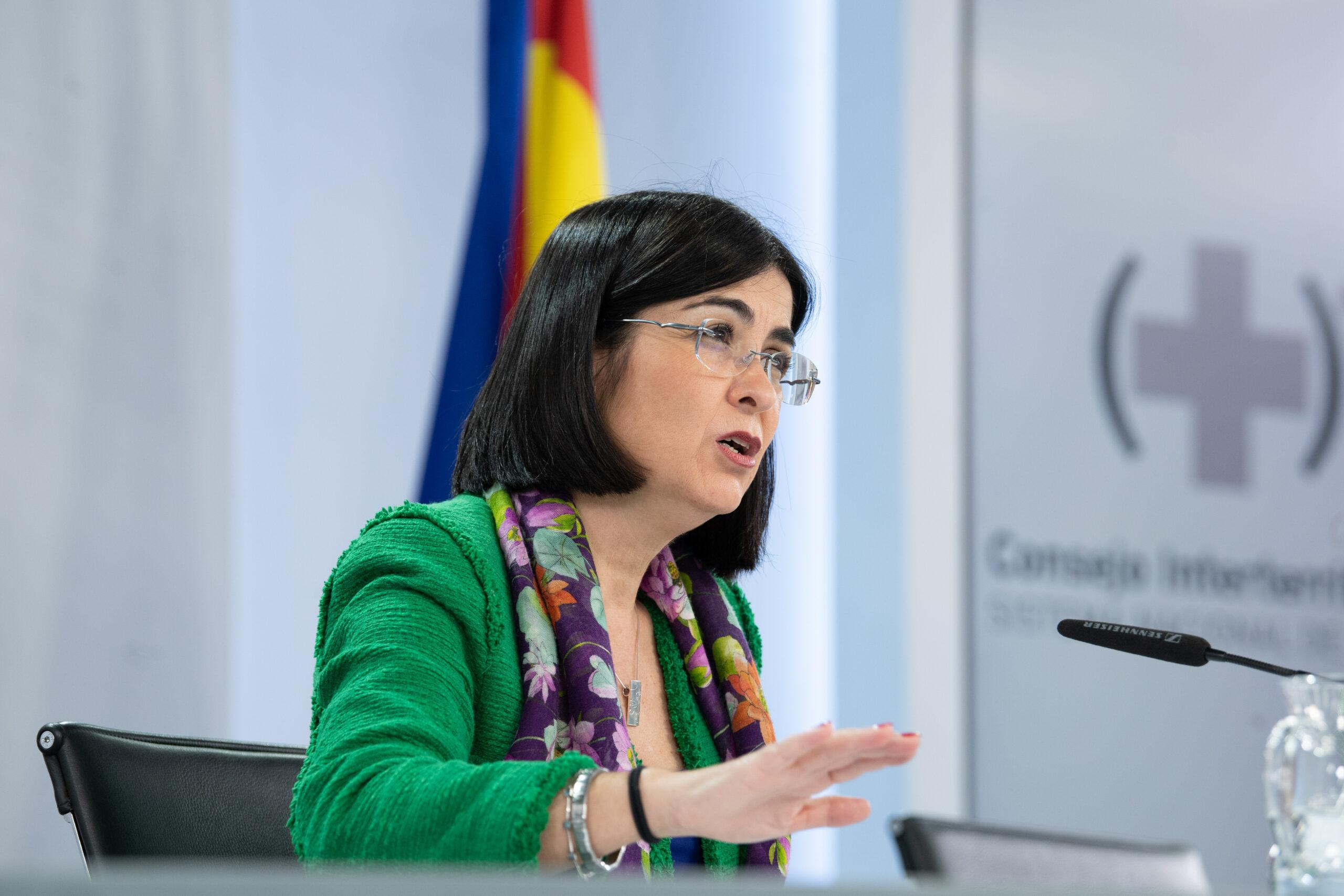 La ministra de Sanitat, Carolina Darias, durant la roda de premsa posterior al Consell Interterritorial de Salut del 22 de març del 2021. Pla mig. (Horitzontal)