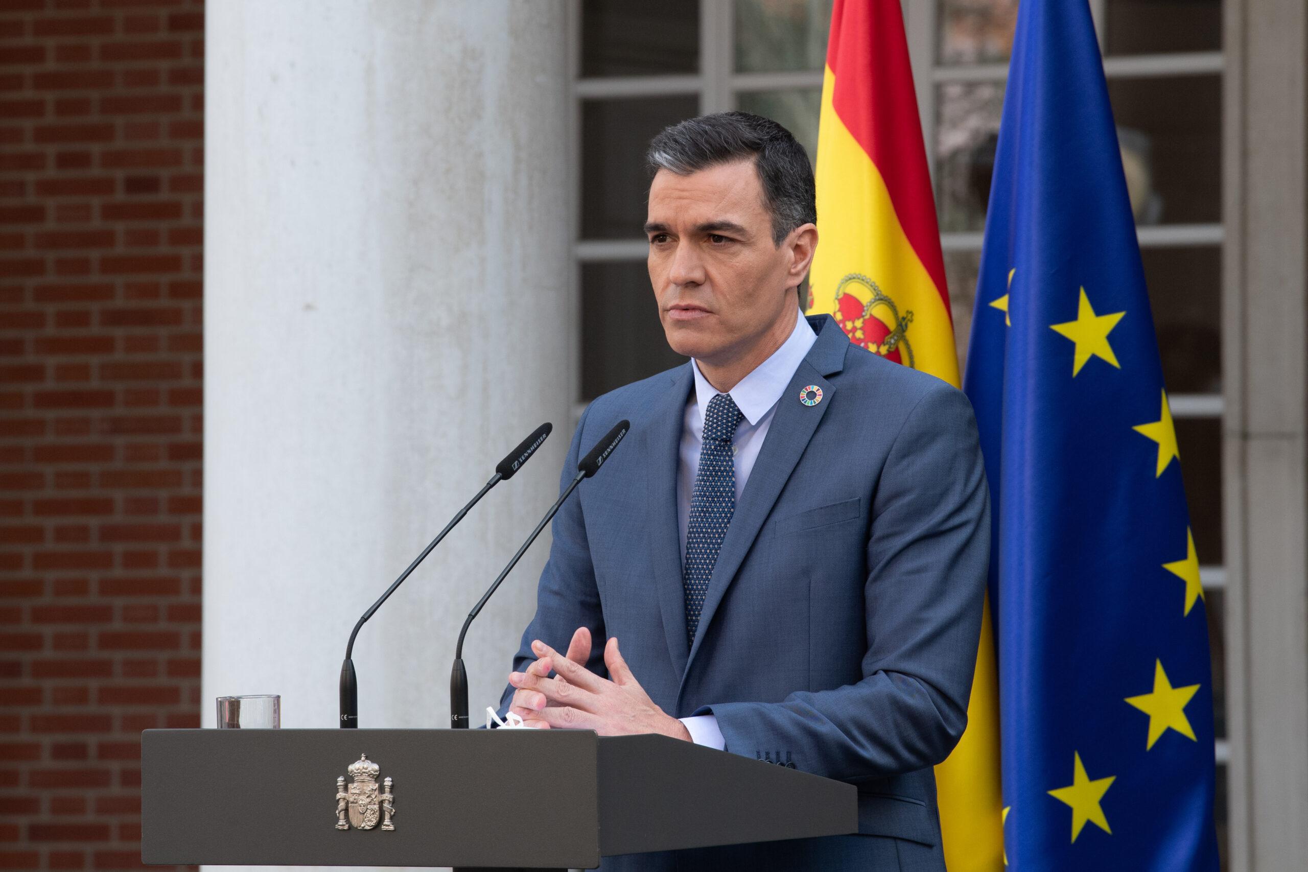 El president del govern espanyol, Pedro Sánchez, en roda de premsa a La Moncloa   ACN