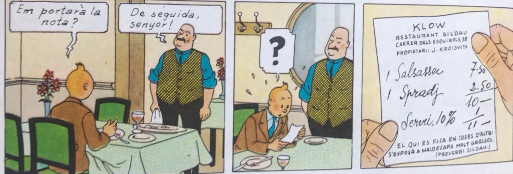 """El preu del """"salsassec amb bolets"""", que menja Tintin a 'El ceptre d'Ottokar' (p. 6)"""
