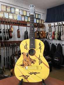 (1595) Гитара с Росписью «Wolf» Новые Колки и Струны