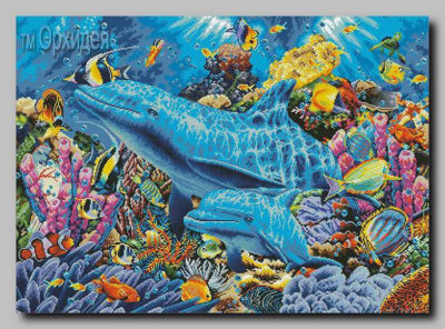 Dolphins on the reef | Needlepoint Kits
