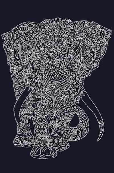 Mehndi Elephant. White | Needlepoint Kits