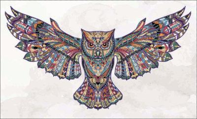 Mehndi Owl. Colored | Needlepoint Kits