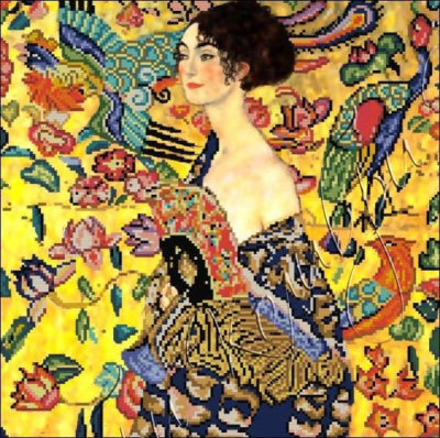 Lady with Fan (by Gustav Klimt) | Needlepoint Kits