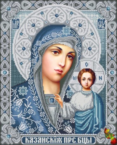 Orthodox Icon of the Mother of God (silver) | Needlepoint Kits