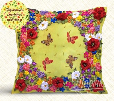 Flowers and butterfies. Pillowcase kit | Needlepoint Kits