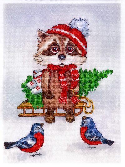 Christmas raccoon   Needlepoint Kits
