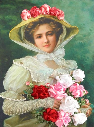 Lady with a bouquet of roses | Needlepoint Kits