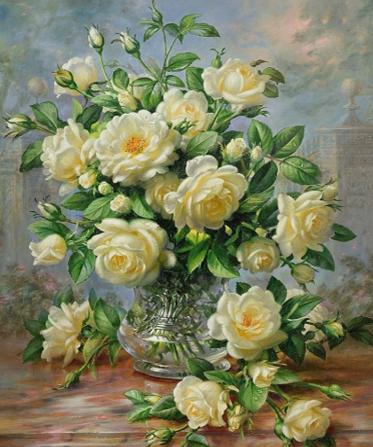 Bouquet of white roses | Needlepoint Kits