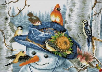 Snowman and Birds   Needlepoint Kits