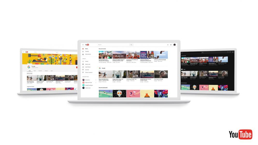 Photo © YouTube, new desktop look