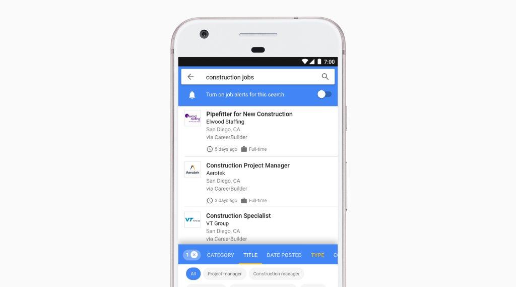 Сервис Google for Jobs поможет найти работу вебмастерам и SEO-специалистам