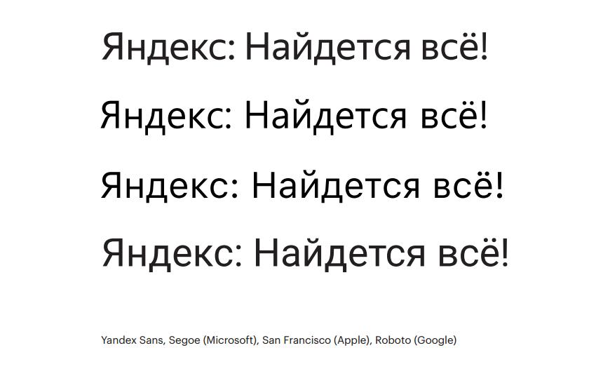 У Яндекса появился фирменный шрифт