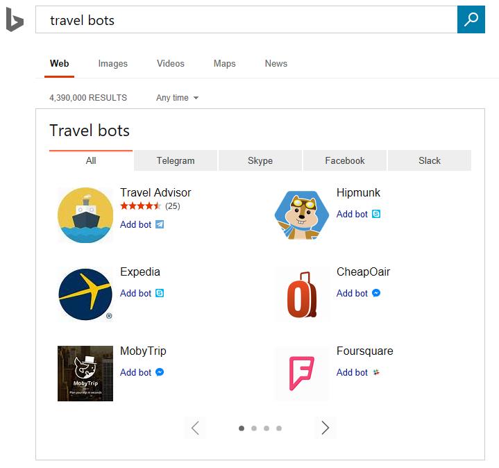 Bing упрощает поиск чат-ботов