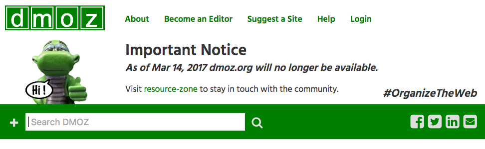 Каталог DMOZ (Open Directory Project) закрывается