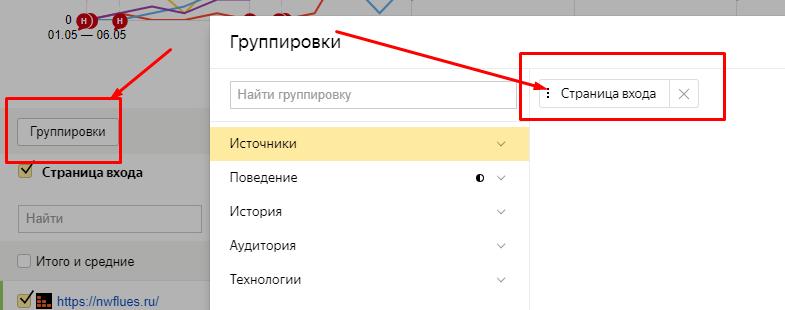Настройка параметров в разделе Группировки Яндекс.Метрики