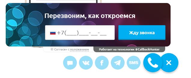 Форма заказа звонка на сайте интернет-магазина