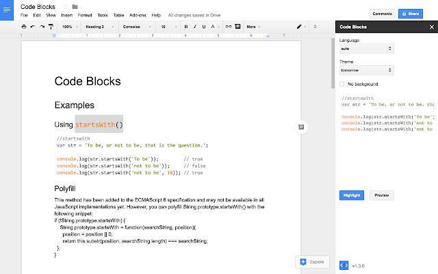 Работа с кодом в Google Docs