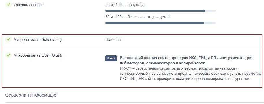 проверка микроразметки Schema.Org и Open Graph