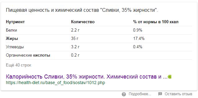 таблица на нулевой позиции google