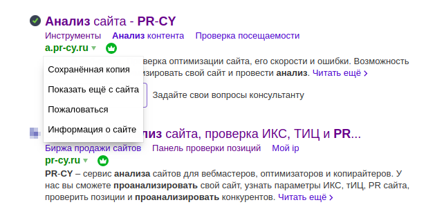 Знаки Яндекса в выдаче