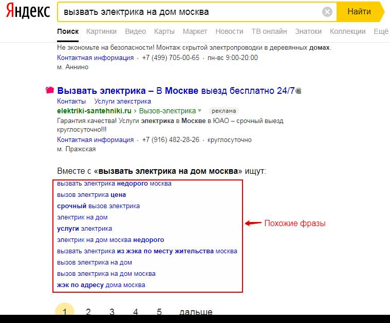 Пример запросов для рекламной сети Яндекса