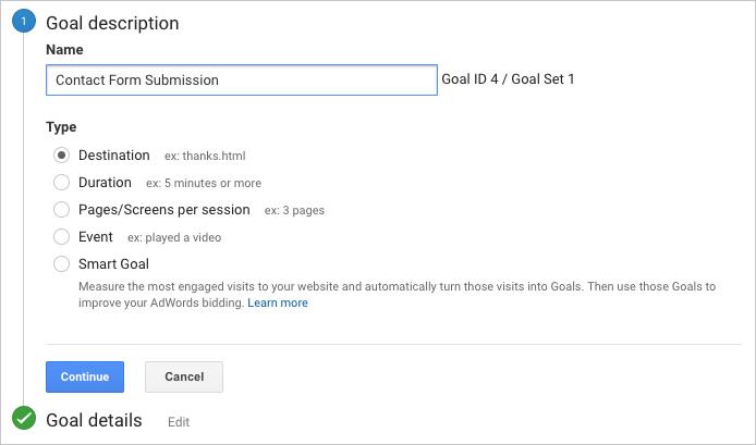 как создать цель  в Analytics