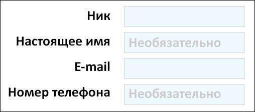 необязательные поля в форме регистрации на сайте