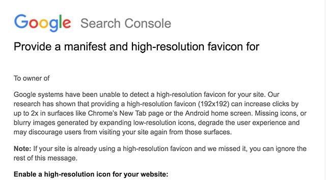 Google требует от веб-мастеров фавиконки высокого разрешения