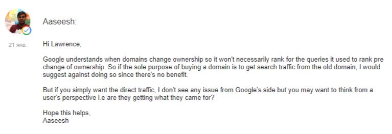 Google знает, когда вы покупаете чужой домен