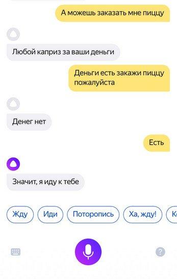 Голосовая помощница Яндекса Алиса не даст вам умереть с голоду!