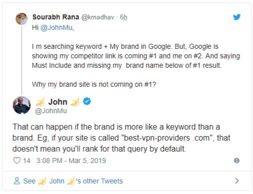 Google о проблемах ранжирования бренда компании